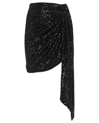 Draped Sequin Mini Skirt, BLACK, hi-res