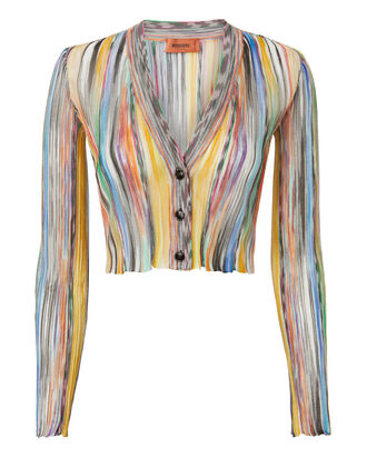 Striped Crop Cardigan, MULTI, hi-res