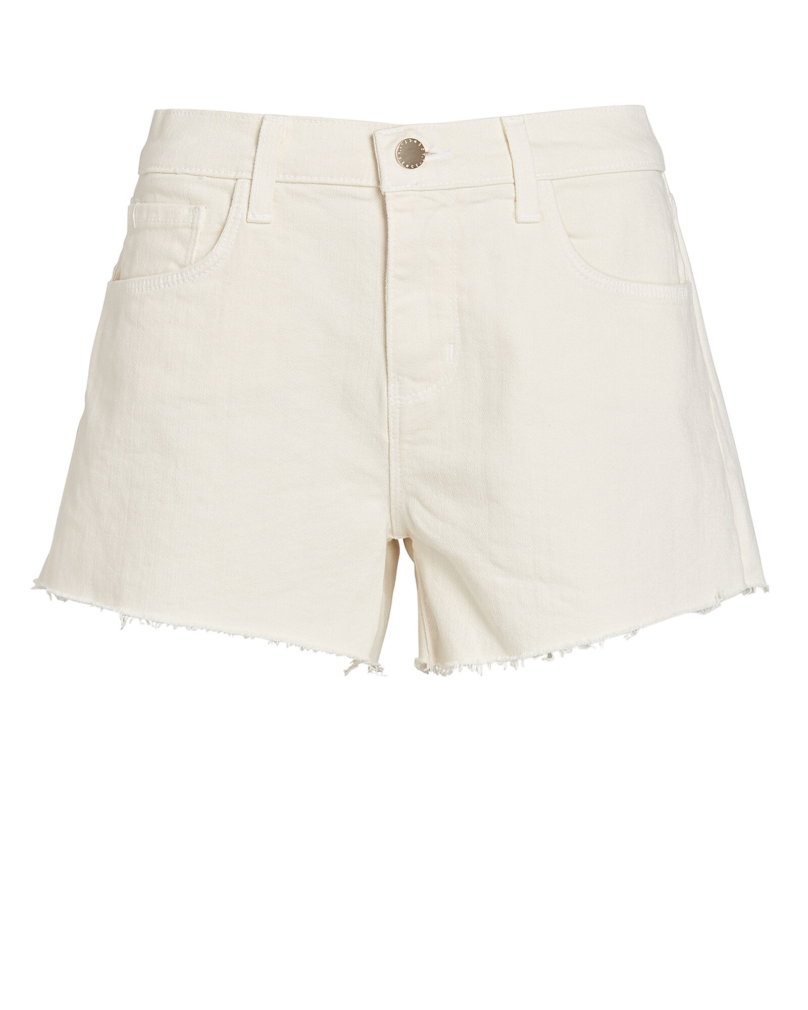 Audrey Cut-Off Denim Shorts, WHITE, hi-res