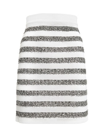 Silver Striped Lurex Mini Skirt, WHITE/SILVER, hi-res