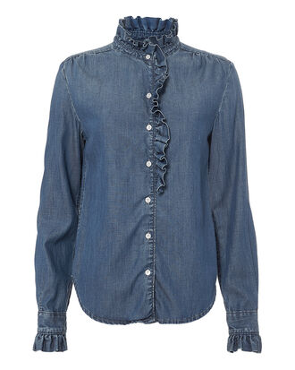 Ruffle Detail Denim Shirt, DENIM, hi-res
