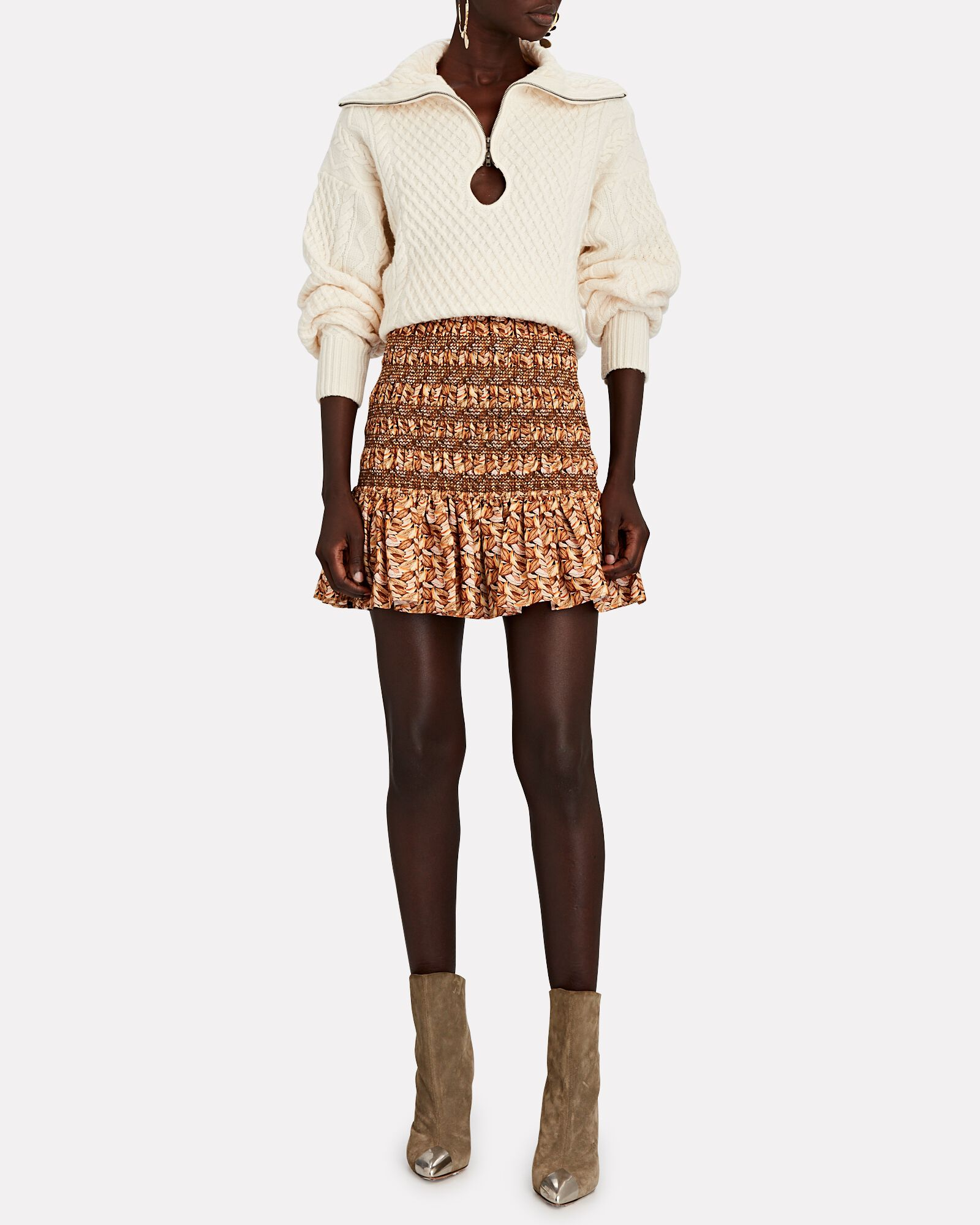 Cable Knit Keyhole Wool Sweater, IVORY, hi-res