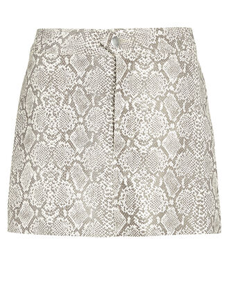 Vegan Python Leather Mini Skirt, GREY/PYTHON, hi-res