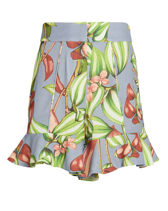 Zebrina Print Ruffle Hem Shorts, LIGHT BLUE/FLORAL, hi-res