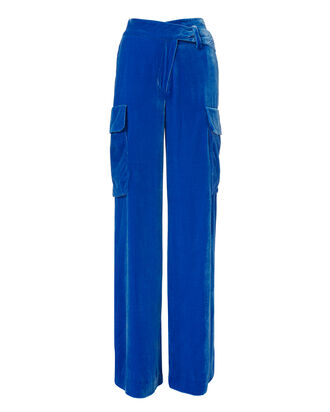 Blue Velvet Cargo Trousers, BLUE, hi-res