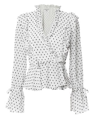 Wilder Ruffled Wrap Blouse, BLK/WHT, hi-res