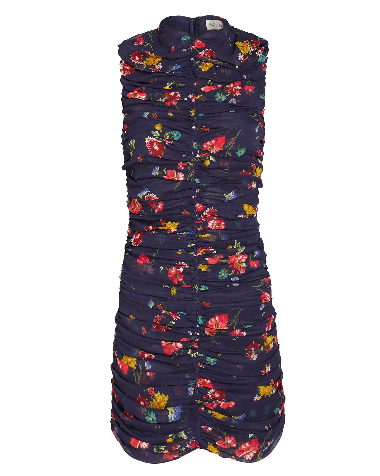 Gathered Silk Floral Dress, NAVY/FLORAL, hi-res