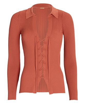 Faye Lace-Up Polo Top, BROWN, hi-res