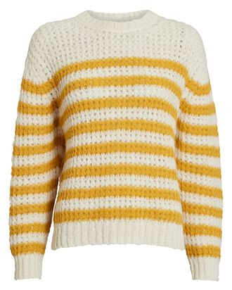 The Striped Alpaca-Blend Sweater, IVORY/YELLOW, hi-res