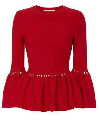 Slashed Knit Peplum Red Top, RED, hi-res