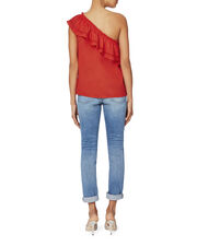 Sally One Shoulder Red Top, RED, hi-res