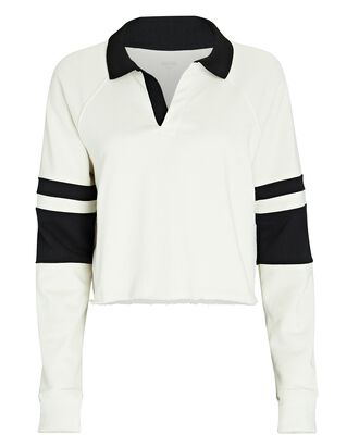 Tiger French Terry Rugby Sweatshirt, WHITE, hi-res