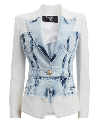Denim Hybrid Single-Breasted Blazer, WHITE/BLUE, hi-res