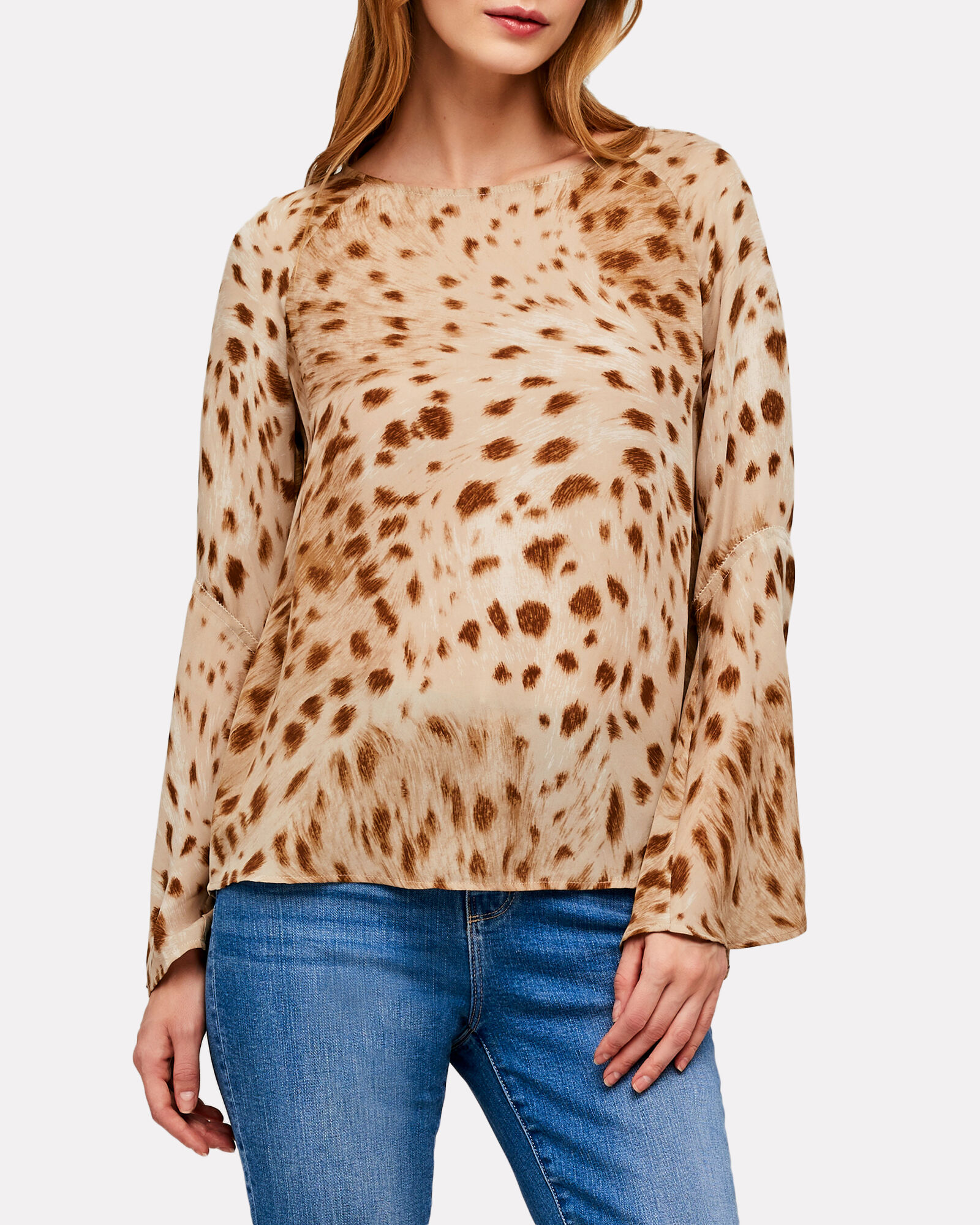 Dylan Cheetah Printed Silk Blouse, MULTI, hi-res