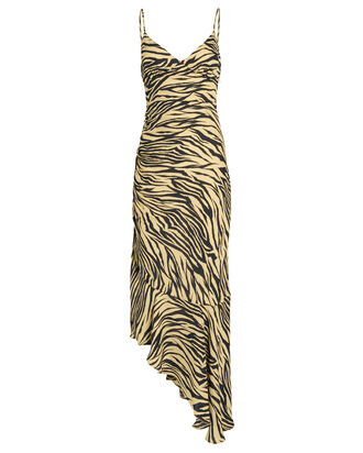 Asymmetric Silk Zebra Slip Dress, YELLOW/ZEBRA, hi-res