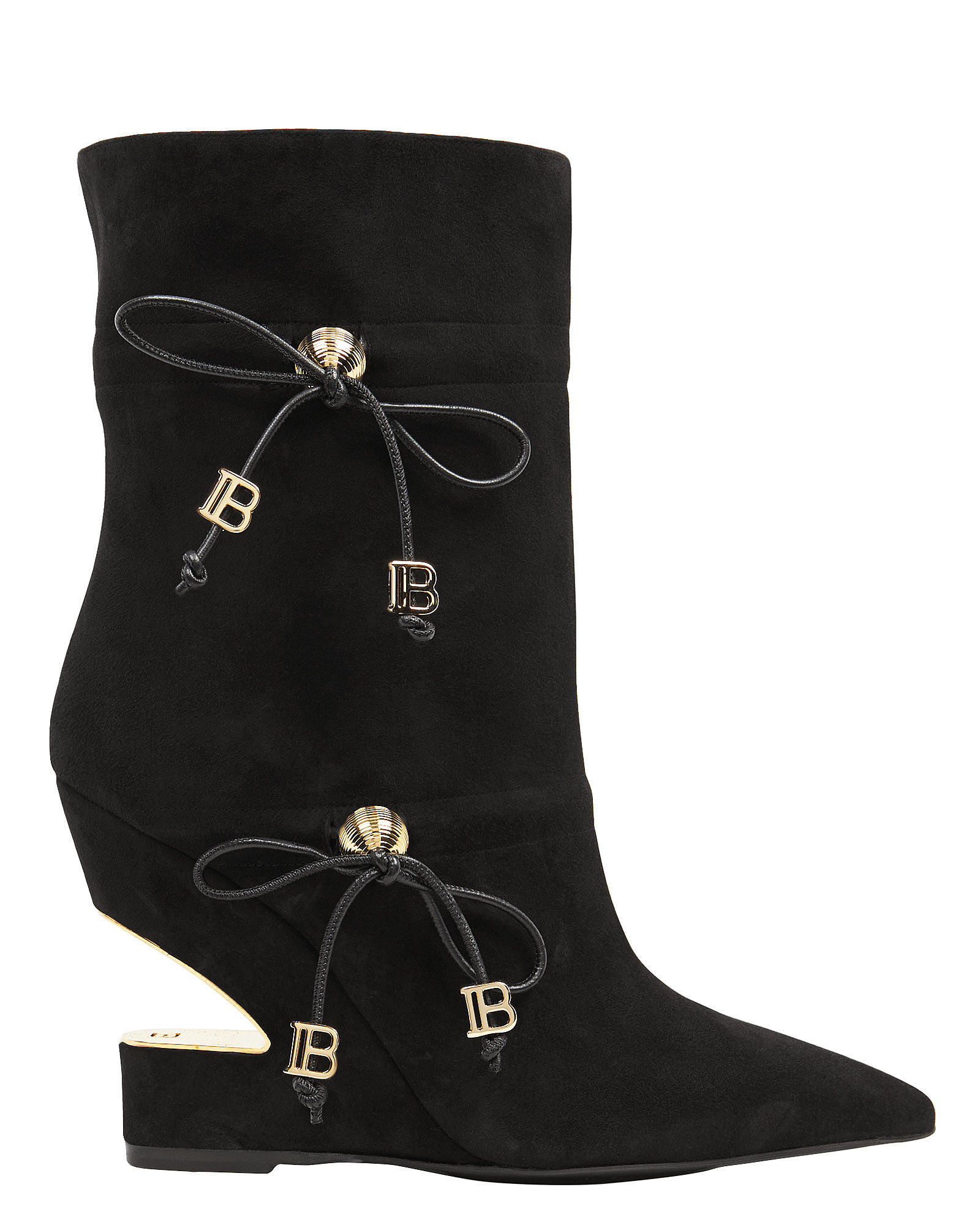 Maya Leather Cut-Out Booties, BLACK, hi-res