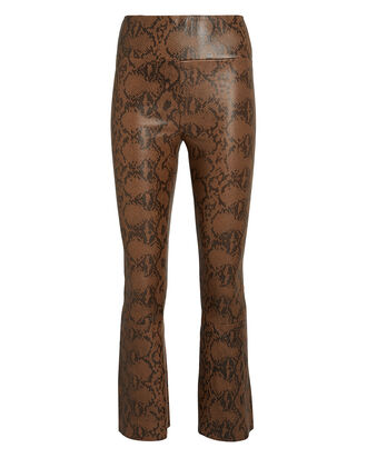 Snake-Embossed Kick Flare Pants, BROWN, hi-res