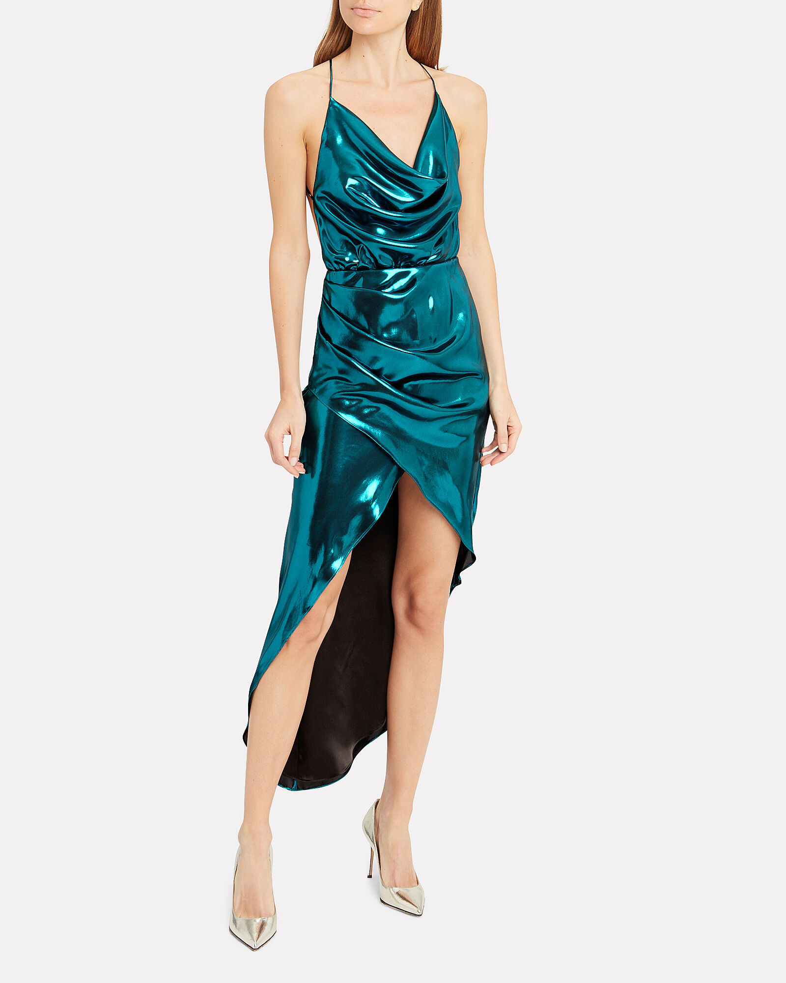 Cowl Neck Metallic Blue Dress, BLUE-MED, hi-res