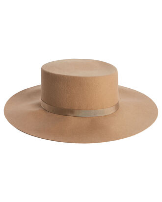 Velour Wide Brim Boater, CAMEL, hi-res