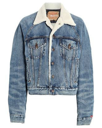 Exeter Fleece-Lined Trucker Jacket, MEDIUM WASH DENIM, hi-res