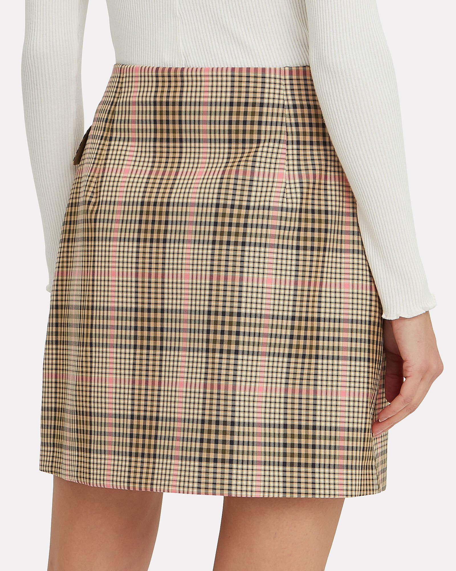 Shani Checked Mini Skirt, BEIGE, hi-res