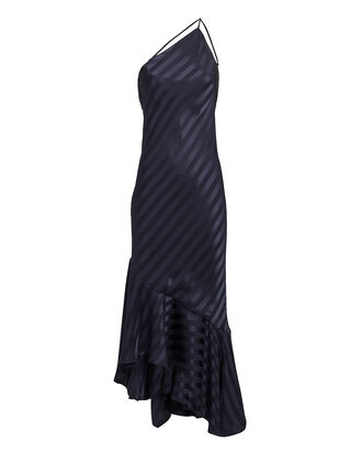 Navy One Shoulder Shadow Stripe Dress, NAVY, hi-res