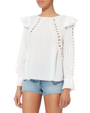 Esther Pom-Pom Crochet Top, WHITE, hi-res