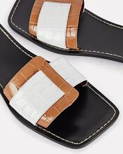 Amelie Leather Buckle Flat Sandals, WHITE/BROWN, hi-res