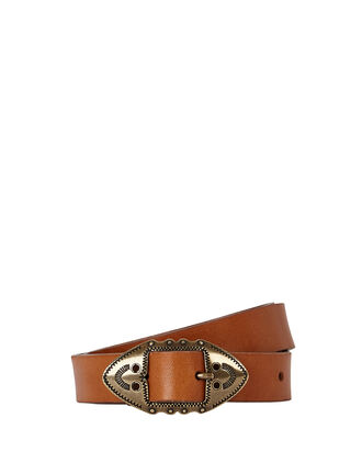 Zacky Skinny Leather Belt, BROWN, hi-res