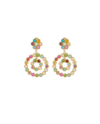 Flower Candies Gemstone Hoops, GOLD, hi-res