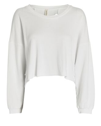 Back Cut-Out Sweatshirt, WHITE, hi-res