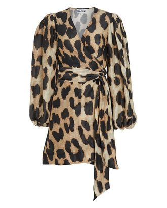 Leopard Silk-Linen Wrap Dress, MULTI, hi-res