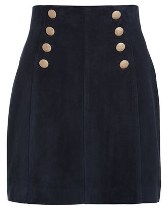 Brianna Suede Mini Skirt, NAVY, hi-res