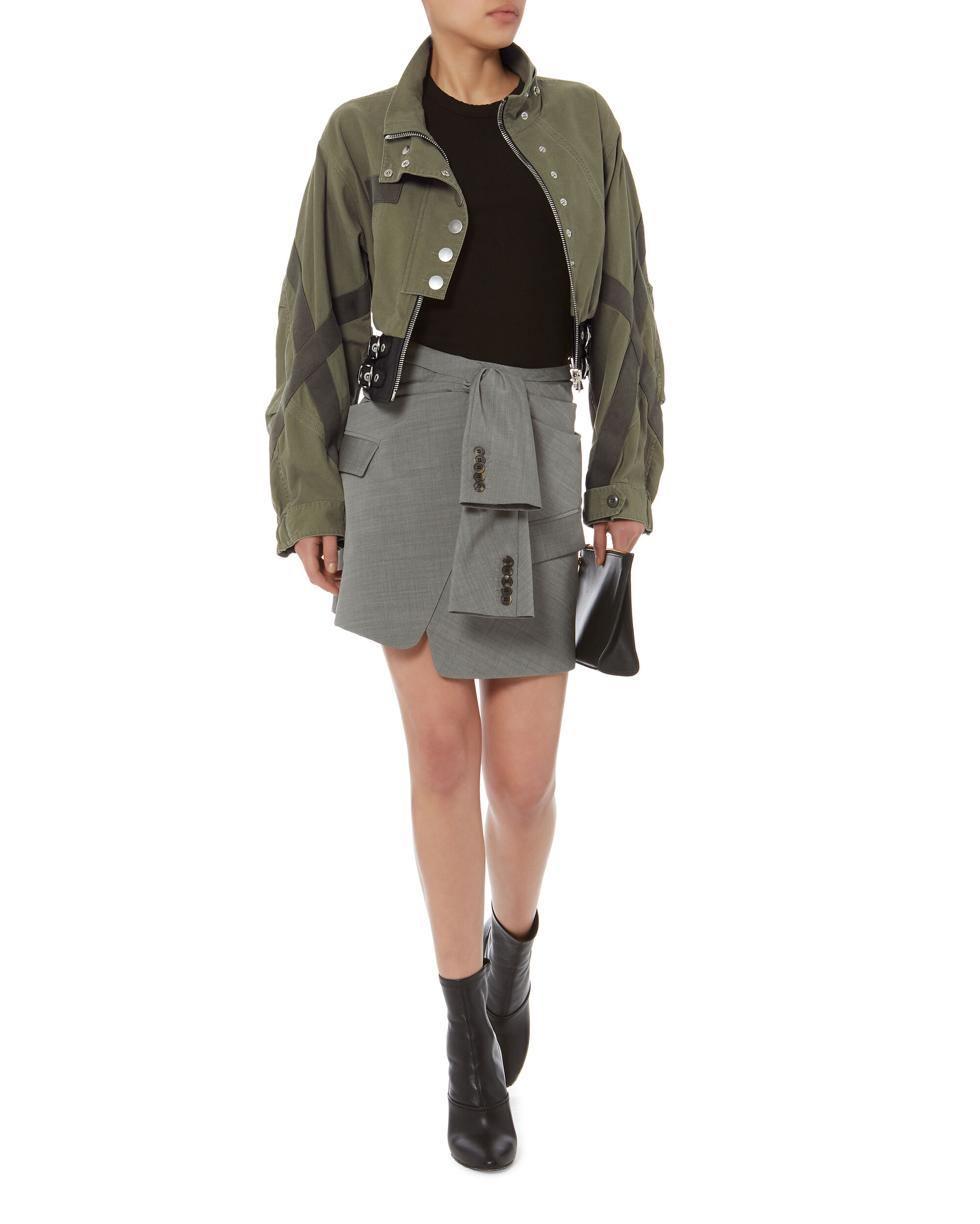 Asymmetric Tie Front Skirt, GREY, hi-res