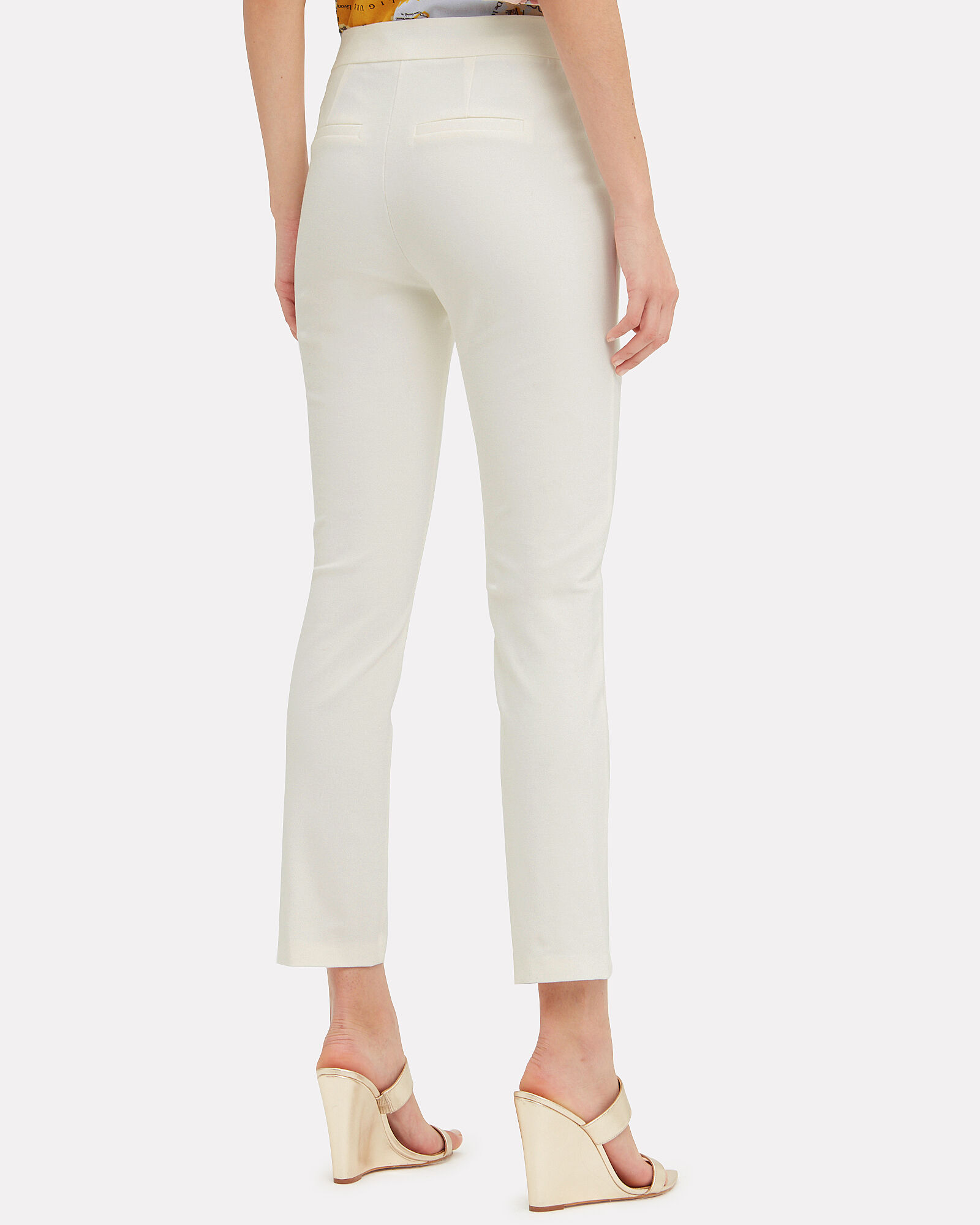Cropped Twill Sailor Trousers, WHITE, hi-res
