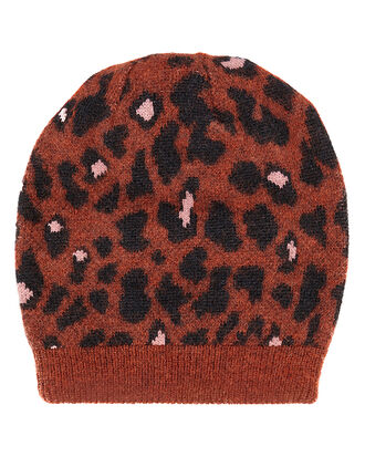 Rust Leopard Print Hat, MULTI, hi-res