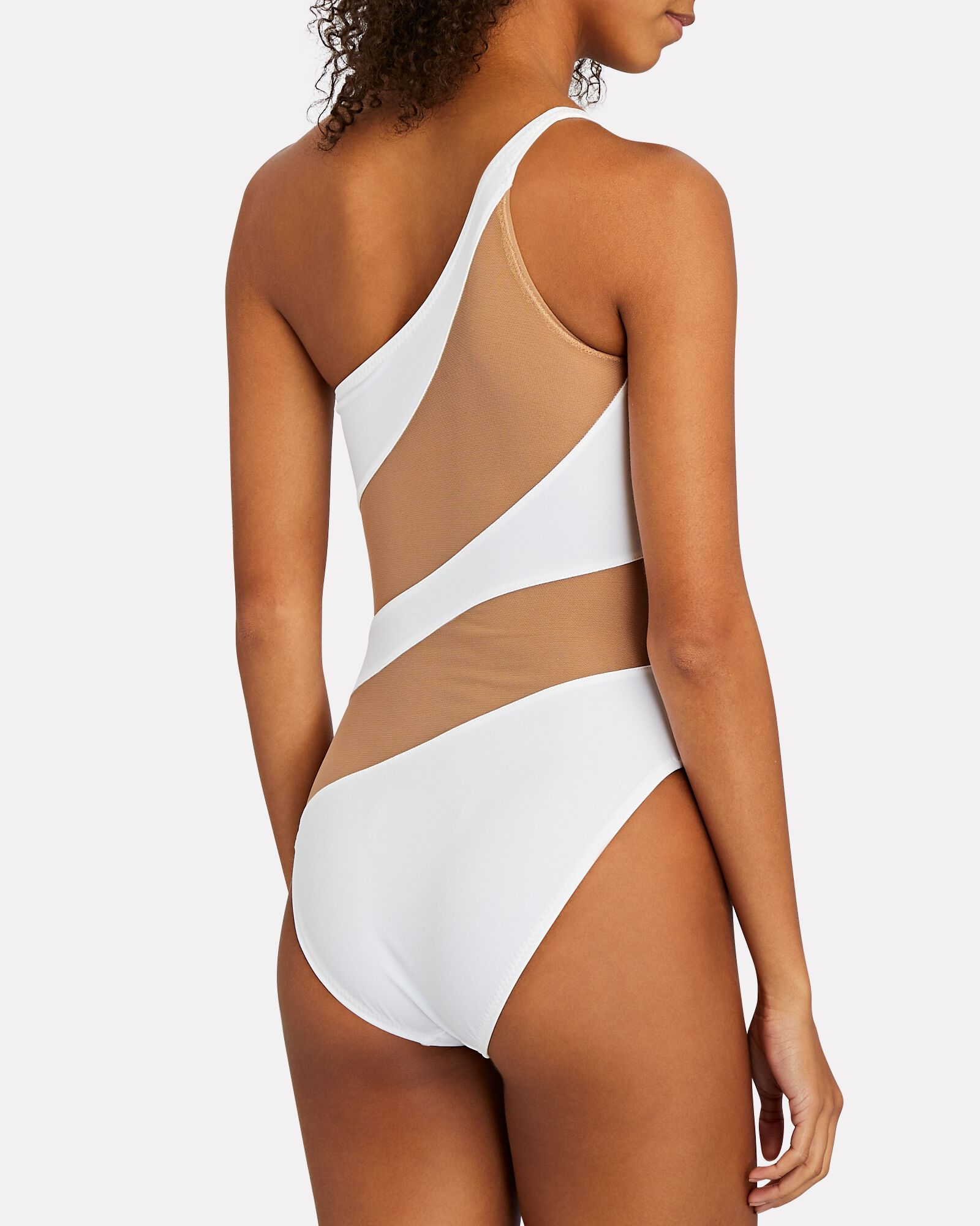 Snake Mesh One-Piece Swimsuit, WHITE, hi-res