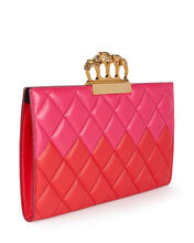Skull Four Ring Quilted Clutch, RED/PINK, hi-res