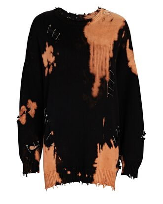 Bleached Oversized Cotton Sweater, BLACK, hi-res
