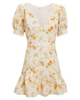 Lena Mini Dress, IVORY/YELLOW FLORAL, hi-res