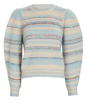 Eleonore Puff Sleeve Mohair-Blend Sweater, BLUE-MED, hi-res