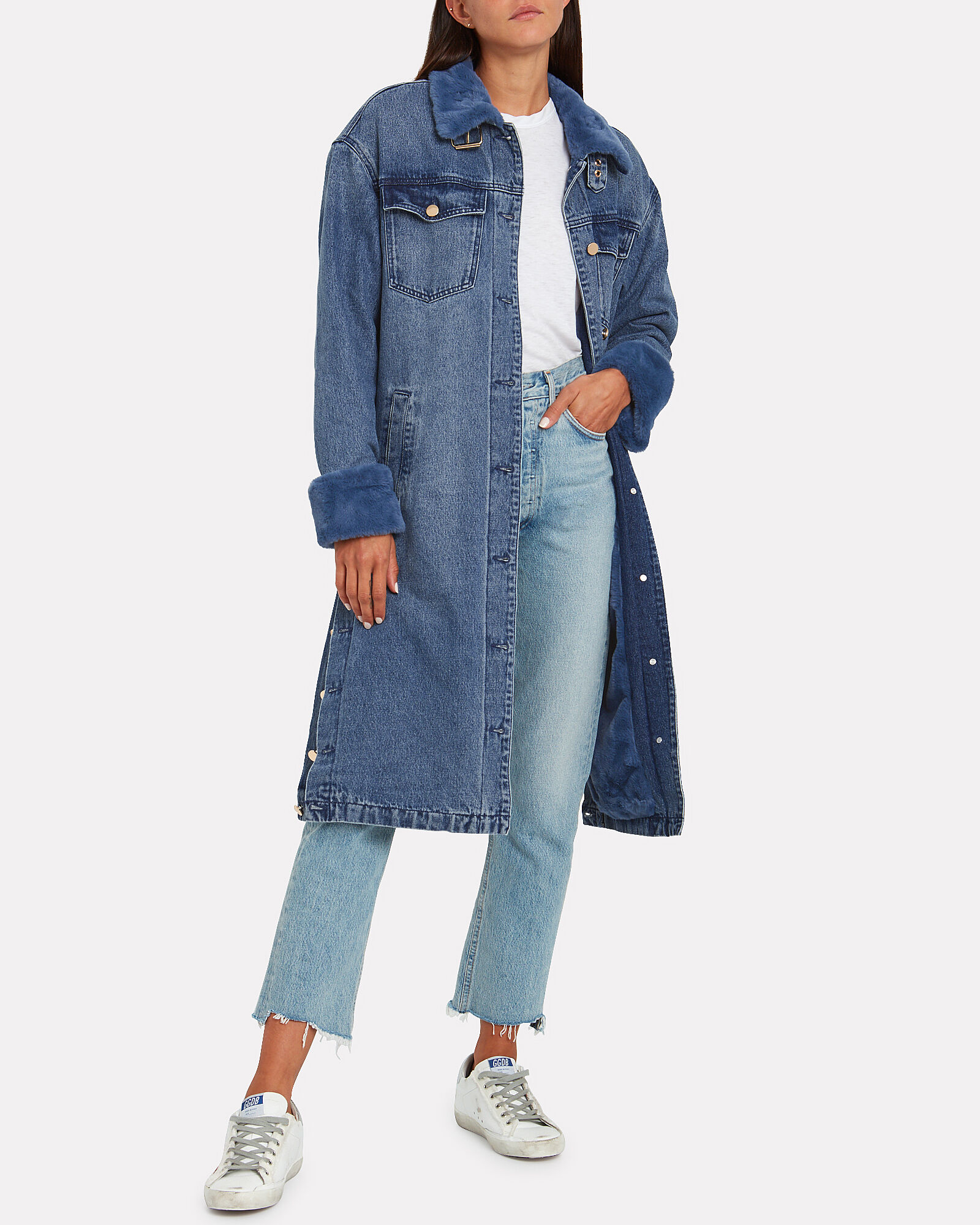 Malou Faux Fur-Trimmed Denim Coat, BLUE-MED, hi-res