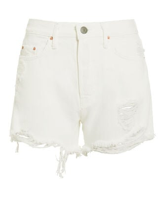 Helena White Distressed Shorts, WHITE, hi-res