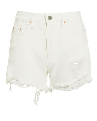 Helena Distressed Denim Shorts, WHITE DENIM, hi-res