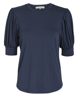 Balloon Sleeve T-Shirt, NAVY, hi-res