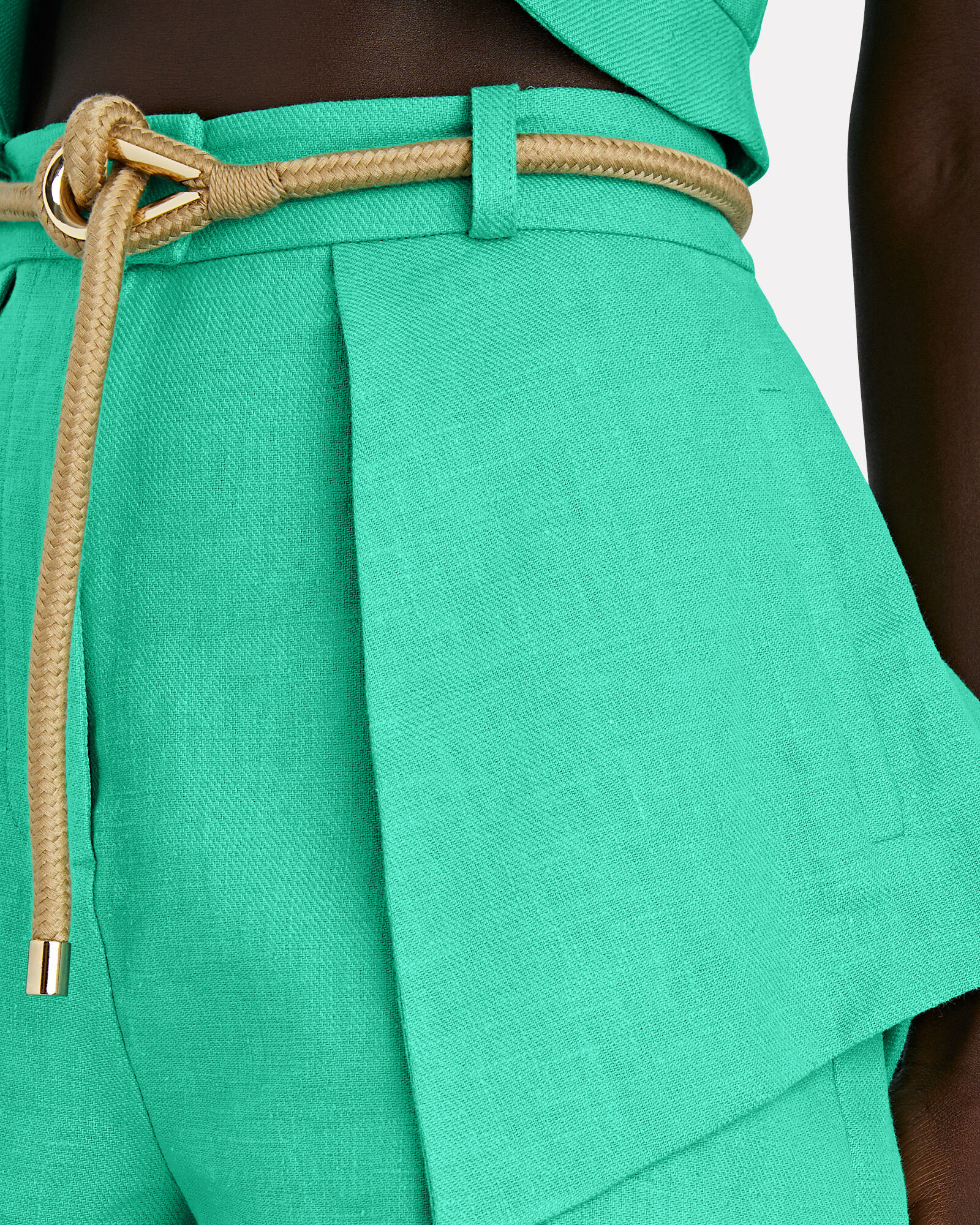 Tegan Belted Twill Shorts, GREEN, hi-res