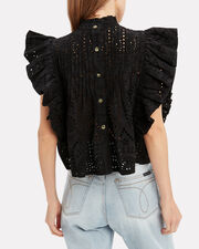 Broderie Eyelet Crop Top, BLACK, hi-res