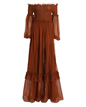 Chiffon Off-The-Shoulder Maxi Dress, BROWN, hi-res