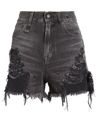 Shredded Slouch Denim Shorts, NILES BLACK, hi-res