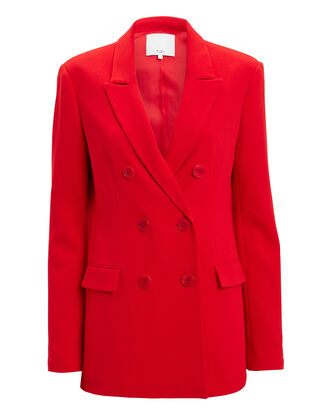 Steward Double-Breasted Blazer, RED, hi-res